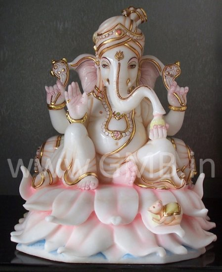 "Beautiful Lord Ganesha Statue on Lotus 12"" - GNS120018"
