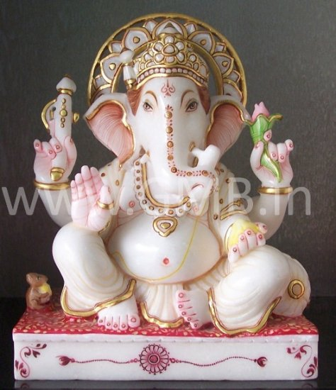 """Beautiful Ganesha Statue Carved from Marble 12"""" - GNS120015"""