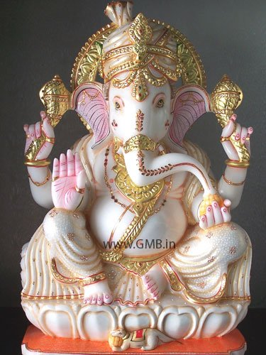 """Bautiful Gold Painted Ganesha Statue 24"""" - GNS24002"""