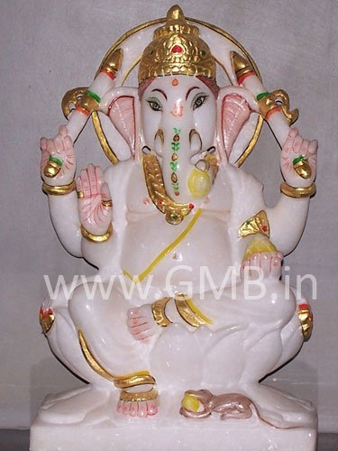 """Marble Statue of Lord Ganesh 09"""" - GNS09008"""