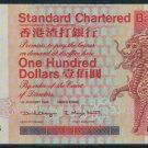 UNC Hong Kong Standard Chartered Bank 1998 HK$100 Banknote : DQ 388883