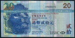 UNC Hong Kong HSBC 2005 HK$20 Banknote : FP 000078