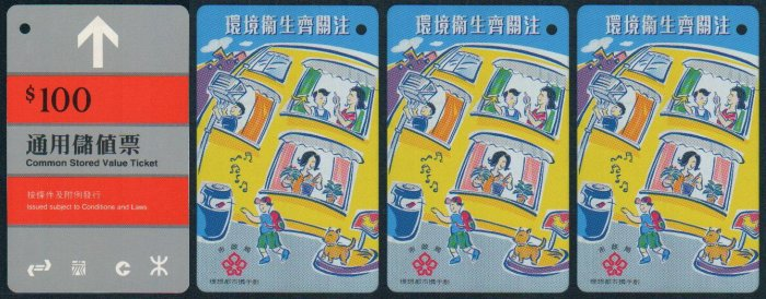 Hong Kong MTR Train Ticket : Urban Council - Heathy Environment x 3 Pieces