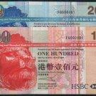 UNC Hong Kong HSBC 2005 HK$20 + HK$100 TWIN Banknote : FQ 000081 + FQ 000081