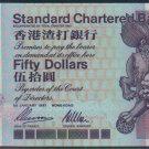 UNC Hong Kong Standard Chartered Bank 1997 HK$50 Banknote : N 282282 (Radar + Repeater)