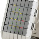Japanese UNISEX LINES LED WATCH- SILVER CASE & 3 COLORS LED DISPLAY