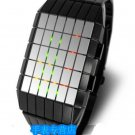 Japanese UNISEX LINES LED WATCH- Black CASE & 3 COLORS LED DISPLAY