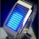 TOKYO TIME UNISEX Japanese LED WATCH SILVER CASE & BLUE LED