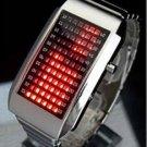 UNISEX Japanese LED WATCH SILVE CASE & RED LED