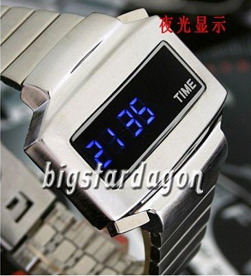 TIME UNISEX Japanese LED WATCH SILVE CASE & BLUE LED /