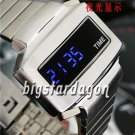 TIME UNISEX Japanese LED WATCH SILVE CASE & BLUE LED /