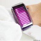 UNISEX Japanese LED WATCH SILVE CASE & Pink LED