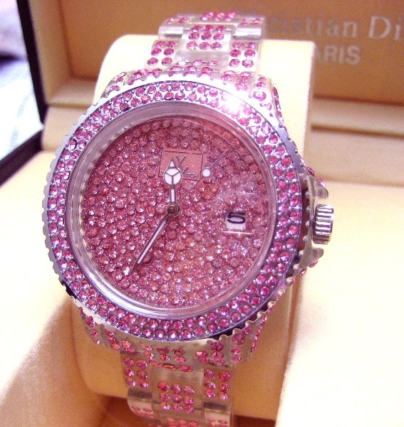 Ladies' Fantastic shiny stone watch- Pink ST08