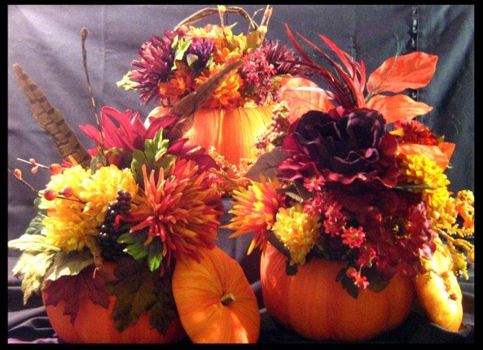 Fall Raffia Pumpkin Centerpiece