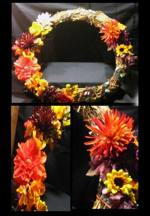 "18"" Grapevine Floral Autumn Wreath"