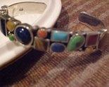 Tachyon Sterling Silver Multi-Gemstone Cuff Bracelet