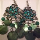 Tachyon Dark Green Mother of Pearl Shell & Crystal Earrings