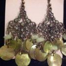 Tachyon Celedon Mother of Pearl Shell & Crystal Earrings