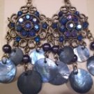 Tachyon Mother of Pearl Shell & Crystal Earrings