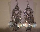 Tachyon Mother of Pearl Shell and Crystal Earrings