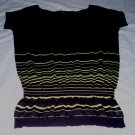Theory Short Sleeve Knit Blouse with Stripe Detailing at Bottom - Size Small