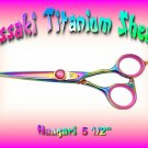 Haagari 5.5 inch Rainbow Titanium Professional Hair Shears / Scissors