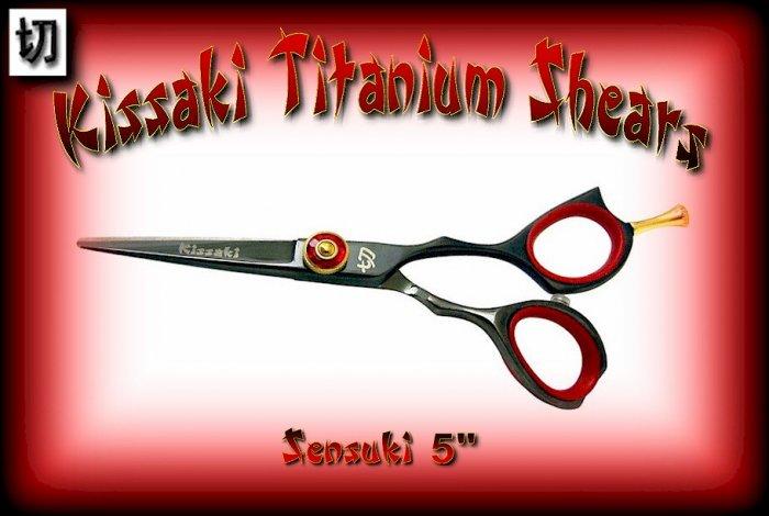 Kissaki Pro Hair 5 inch Sensuki Designer Series Black Titanium Shears / Scissors / Salon / Barber