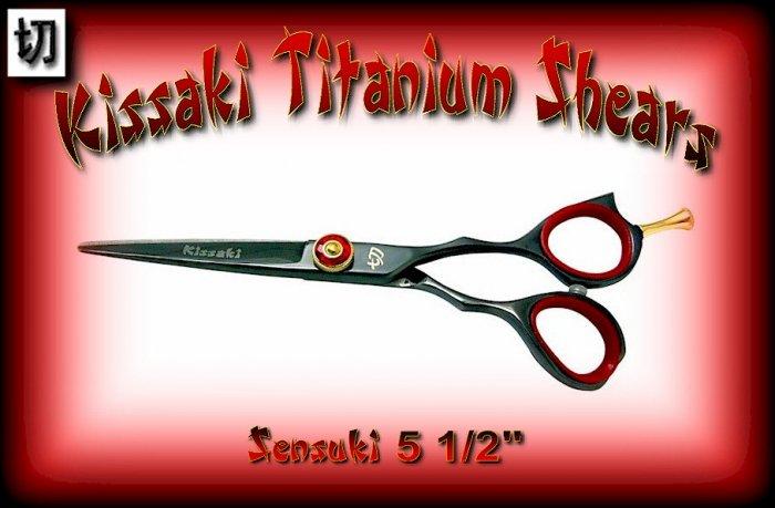 Kissaki Pro Hair 5.5 inch Sensuki Designer Series Black Titanium Shears / Scissors / Salon / Barber