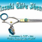 Kissaki Pro Hair 5.5 inch 30 tooth Kanagawa L. Left Handed Double Swivel Thinning Shears Scissors