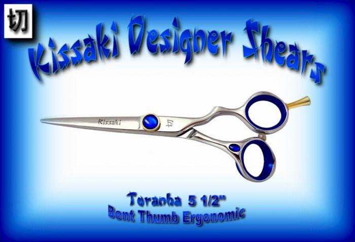 Kissaki Designer 5.5 inch Toranha Bent Thumb Ergonomic Professional Hair Shears / Scissors / Salon