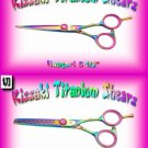 Haagari 5.5 inch & Hataraki 28t Rainbow Titanium Professional Hair Shears / Scissors Combo