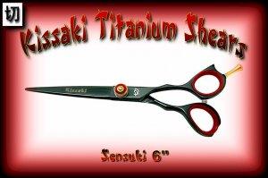 Kissaki Pro Hair 6 inch Sensuki Designer Series Black Titanium Shears / Scissors / Salon / Barber