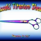 Kissaki Pro Hair 8.5 inch Kareru Rainbow Titanium Straight Dog Grooming Shears Scissors