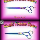 Kissaki Pro 8.5 inch Kareru & 7 inch Nagasa 48 tooth Rainbow Dog Grooming Shears Scissors Combo