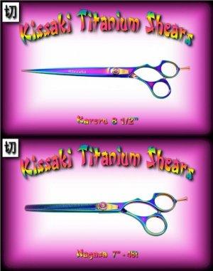 Kissaki Pro 8.5 inch Kareru & 7 inch Nagasa 48 tooth Rainbow Dog Grooming Shears Scissors Combo