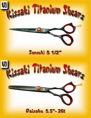 Kissaki Pro Hair 5.5 inch Sensuki & 5.5 inch Daisaku 26 tooth Black Titanium Shears Scissors Combo