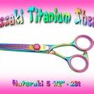 Hataraki 28 tooth Rainbow Titanium Professional Thinning Shears / Scissors