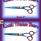 Kissaki Pro Hair 6 inch Jigane & 6 inch Na-Kago 35 tooth Blue Titanium Shears Scissors Combo