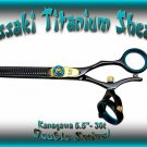 Kanagawa Double Swivel 5.5 inch 30-tooth Black B Titanium Professional Hair Thinning Shears Scissors