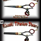 Gokatana 5.5 inch & Kanagawa 30t Double Swivel Black R Titanium Pro Hair Shears Scissors Combo