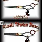 Gokatana 6 inch & Kanagawa 30t Double Swivel Black R Titanium Pro Hair Shears Scissors Combo