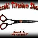 Kissaki Left Handed Pro Hair 6 inch Sensuki L Black Titanium Salon Shears Barber Scissors