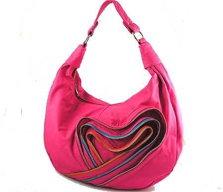 Fushia Handbag with Heart Zipper Accent