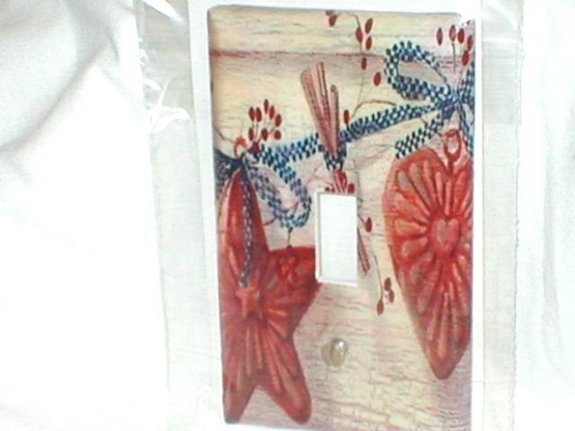 FOLK ART~RUSTIC DESIGN~STAR AND HEART LIGHT SWITCHPLATE COVER