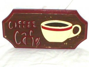 COFFEE CAFE~SHABBY COFFEE SHOP STYLE WOODEN SIGN