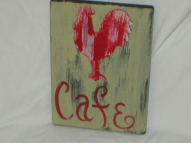 RED ROOSTER CAFE~CUSTOM PAINTED SHABBY/RUSTIC SIGN
