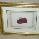 EMILY ADAMS FRAMED CINEMA RED PURSE PRINT~GOLD FRAME(a)