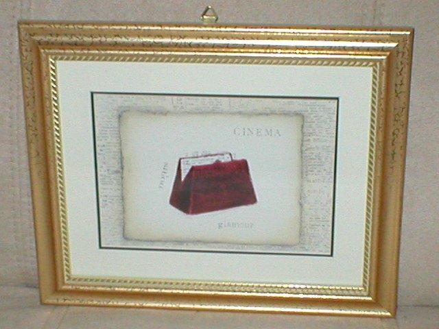 EMILY ADAMS~RED CINEMA PURSE~GOLD FRAMED PRINT(b)