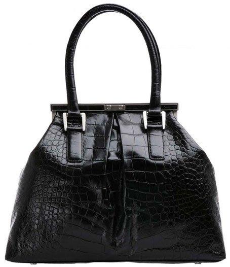 Bill Blass Marcus Embossed Alligator Leather Frame Bag - Black