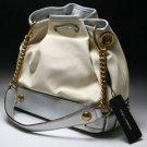 Dolce & Gabbana Metallic Leather & Drawstring Bag - Cream